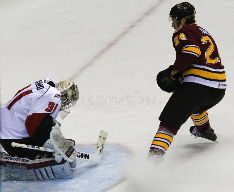 Goalie gets the save. Goalie crouches to protect himself after making a save on the ice rink stock image