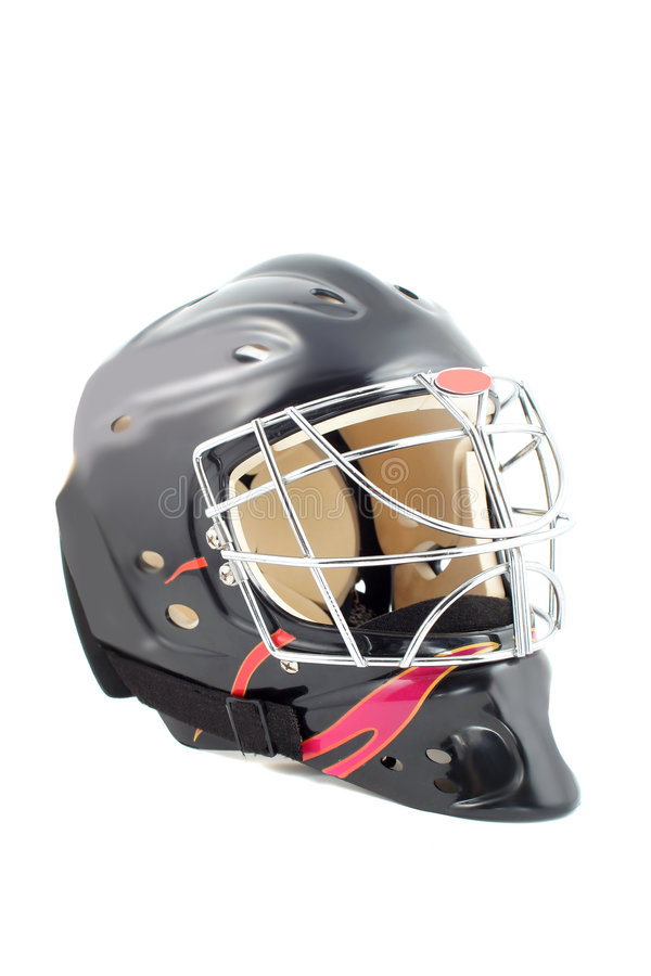 Goalie helmet. Black and red isolated hockey goalie mask stock image