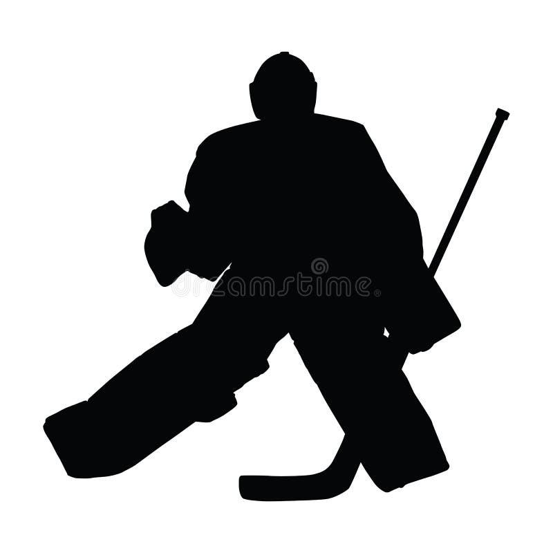 Goalie i ishockeyflyttningar royaltyfri illustrationer