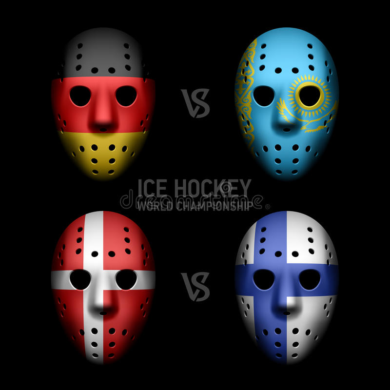Goalie masks with flags stock illustration