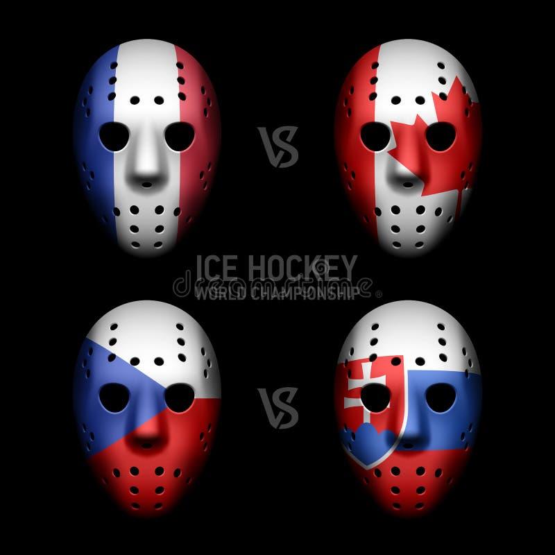 Goalie masks with flags vector illustration