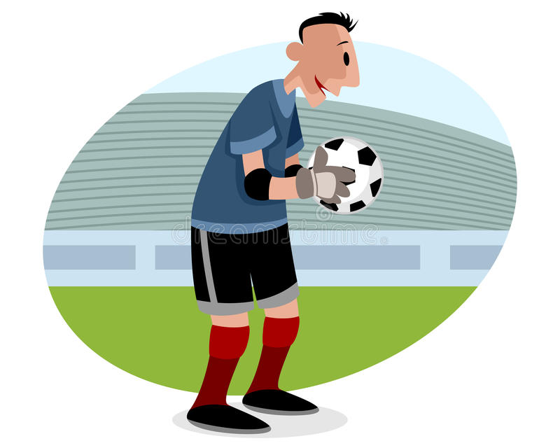 Goalie med bollen stock illustrationer