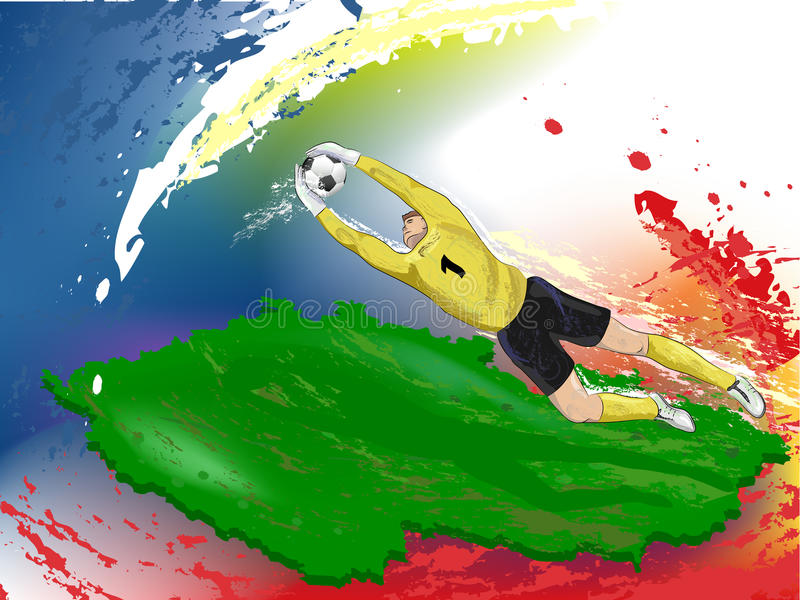 Download Goalie in yellow stock illustration. Image of catch, goalkeeper - 24546549