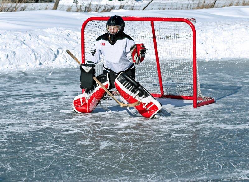 goaliehockey arkivbild