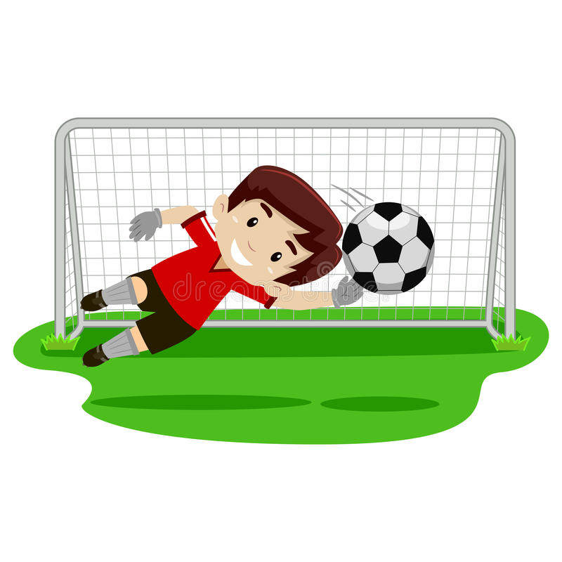 Goalkeeper Boy trying catching the ball on football gate. Vector illustration of a goalkeeper Boy trying catching the ball on football gate stock illustration