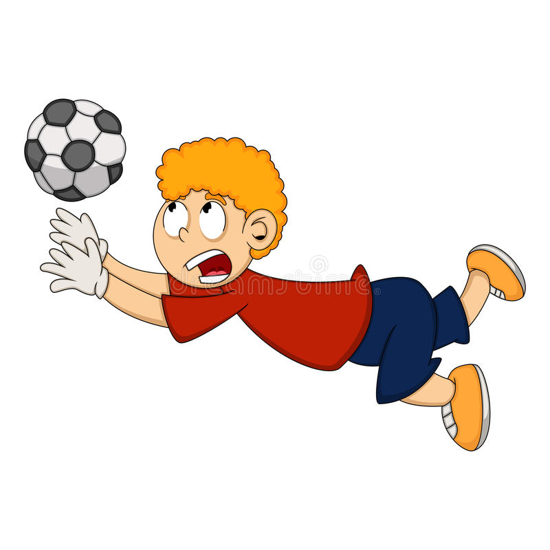 Goalkeeper catch the ball cartoon. Full color royalty free illustration