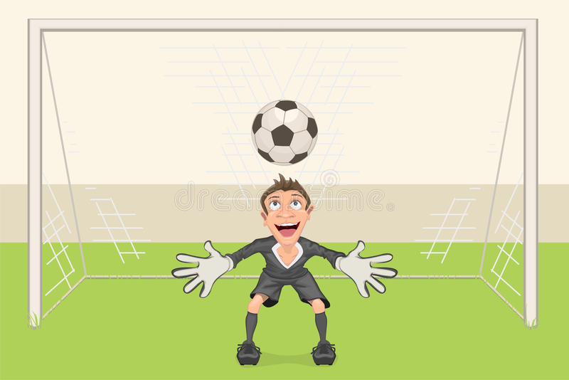 Goalkeeper catches soccer ball. Penalty kick in soccer. Football goal. Vector cartoon illustration stock illustration