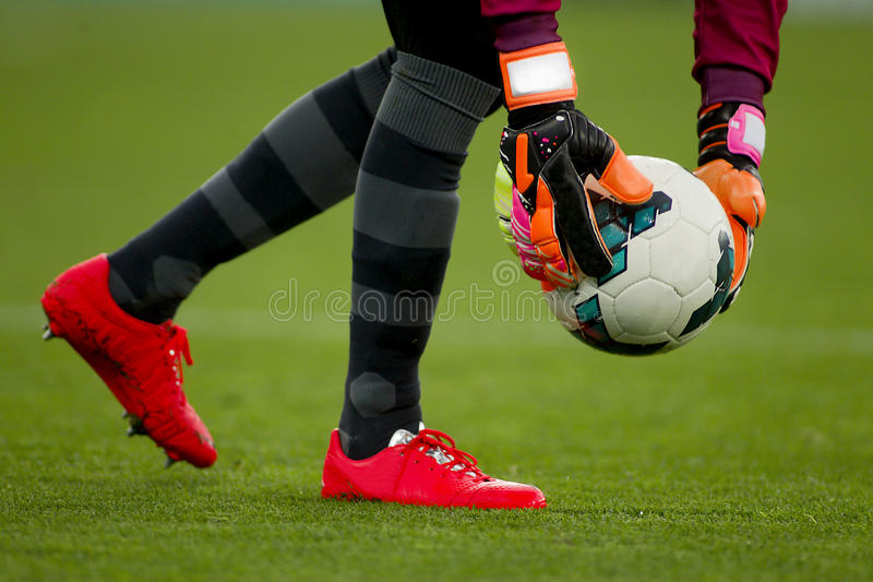 Goalkeeper gloves royalty free stock photography
