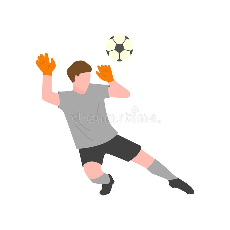 The goalkeeper in a gray uniform and gloves tries to catch the ball. In midair and to prevent a goal royalty free illustration