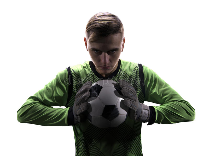 Goalkeeper in green ready to save on white background stock images
