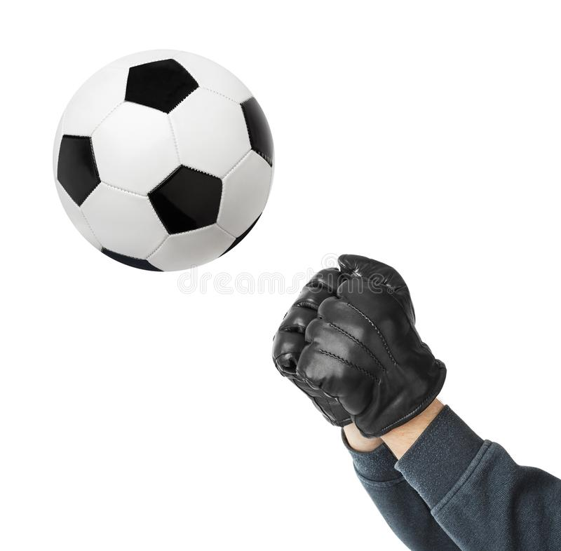 Goalkeeper hands and soccer ball royalty free stock photos