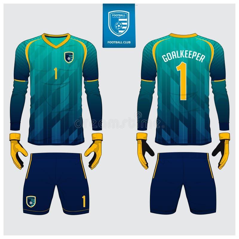 Goalkeeper jersey or soccer kit, long sleeve jersey, goalkeeper glove template design. t-shirt mock up. Front, back view uniform. Goalkeeper jersey or soccer stock illustration