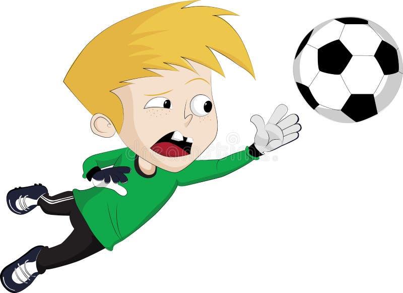 Goalkeeper jump to catch a Ball. Vector clip art illustration royalty free illustration
