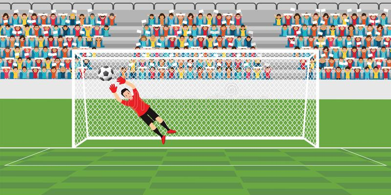 Goalkeeper jumping to catch soccer ball. Goalkeeper jumping to catch soccer ball, football match team players sport championship vector illustration stock illustration