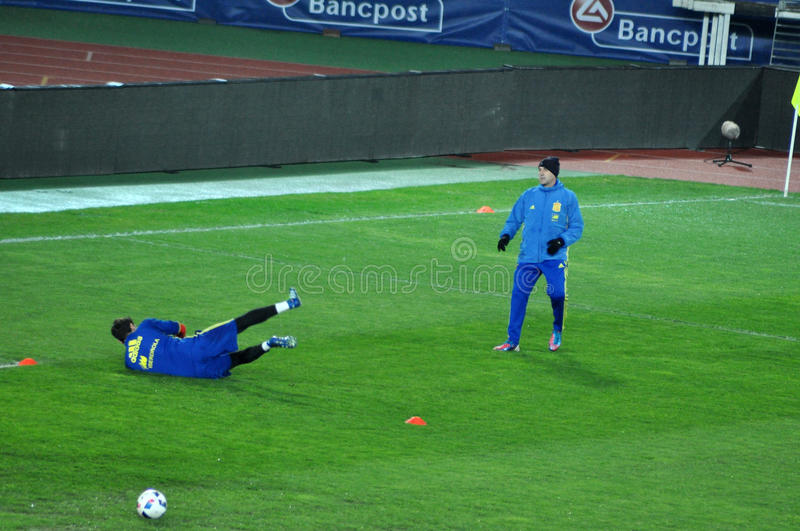 Goalkeeper of Spain, Iker Casillas during the training session stock photography