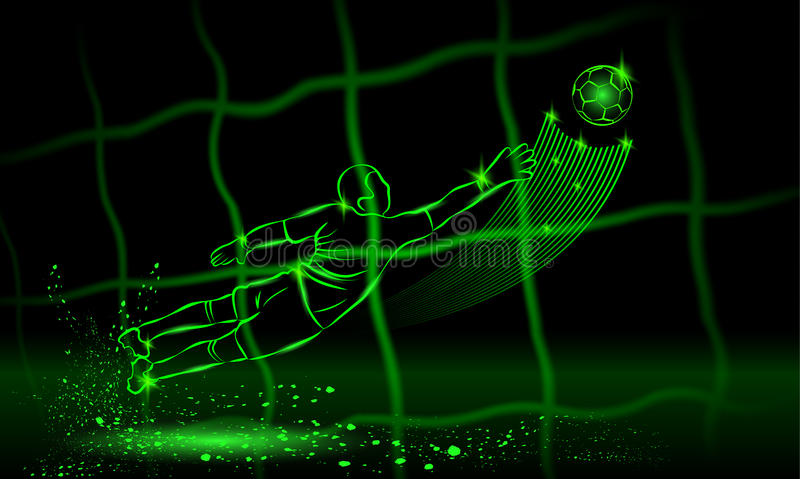 Goalkeeper try to catch the ball. rear view through the net. neon style. Goalkeeper try to catch the ball. rear view through the net. Vector neon illustration royalty free illustration
