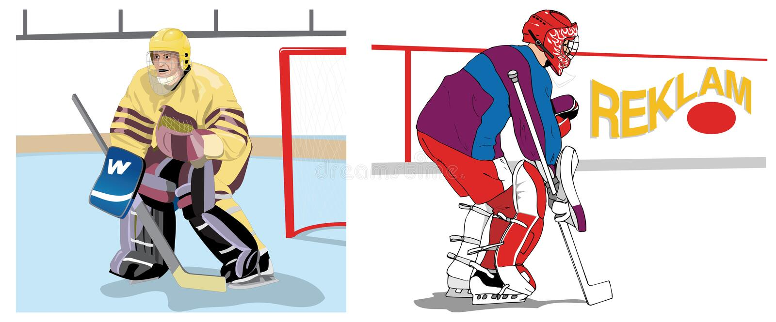 Goalkeepers. Ice hockey goal keepers defending position vector illustration