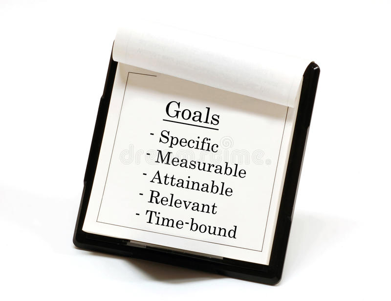 Goals. Smart goals listed on a desktop calendar stock photo