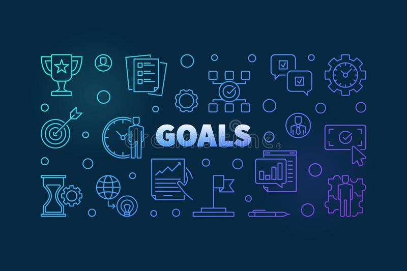 Goals colorful linear illustration. Vector business banner royalty free illustration