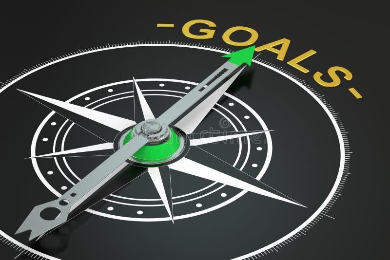 Goals compass concept. 3D rendering stock illustration