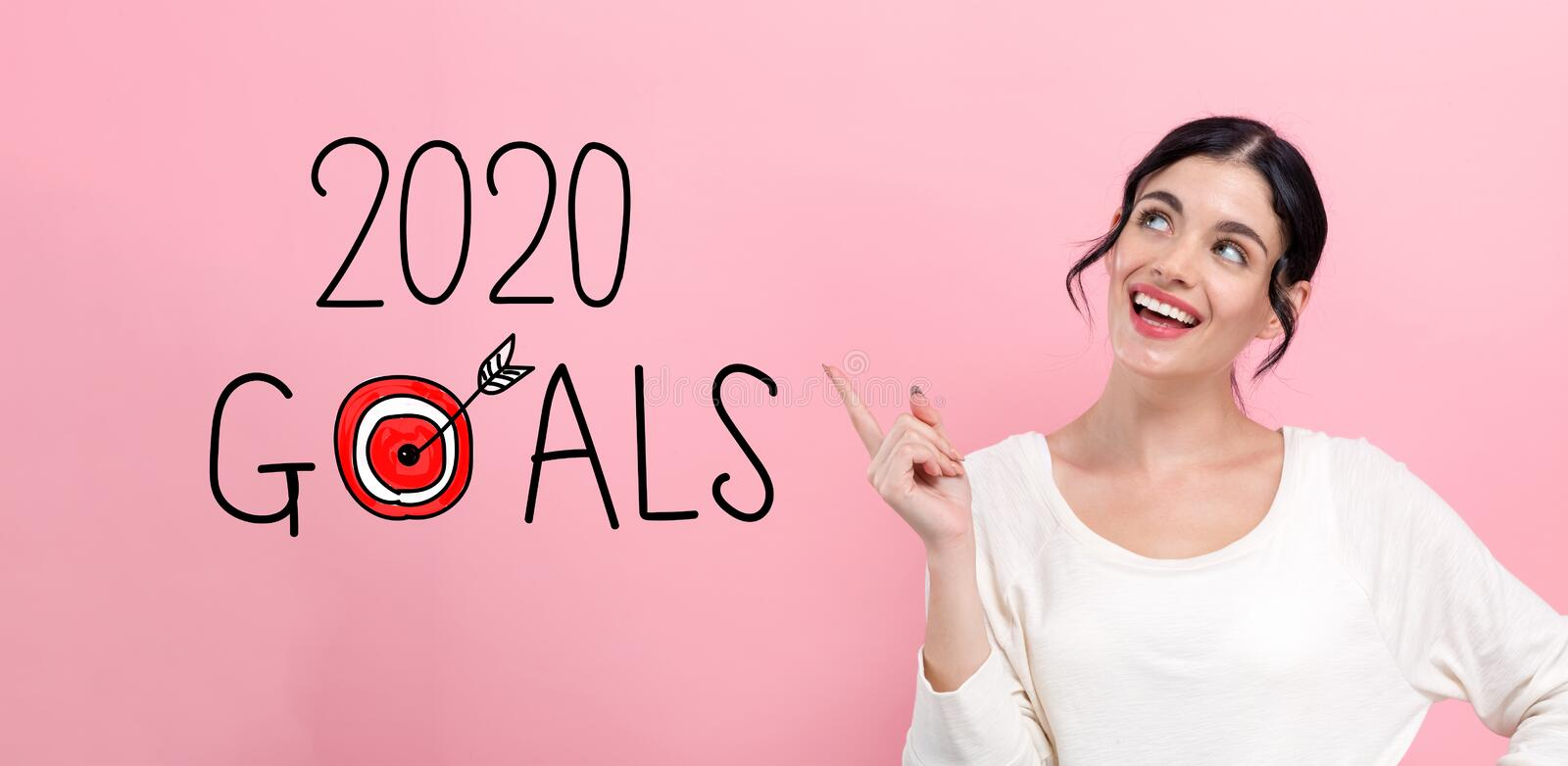 2020 goals concept with young woman royalty free stock images