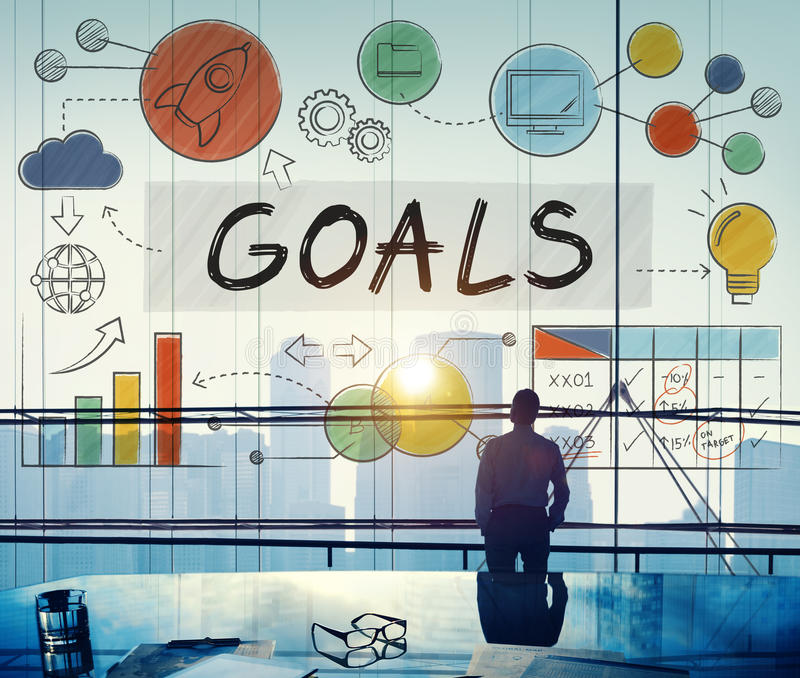 Goals Data Mission Target Aspiration Concept stock images