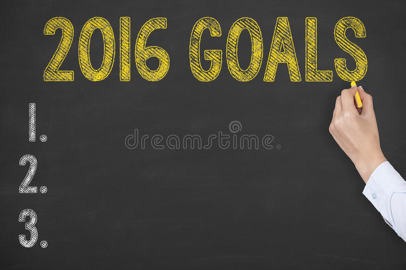 Goals 2016 Drawing on Chalkboard stock image
