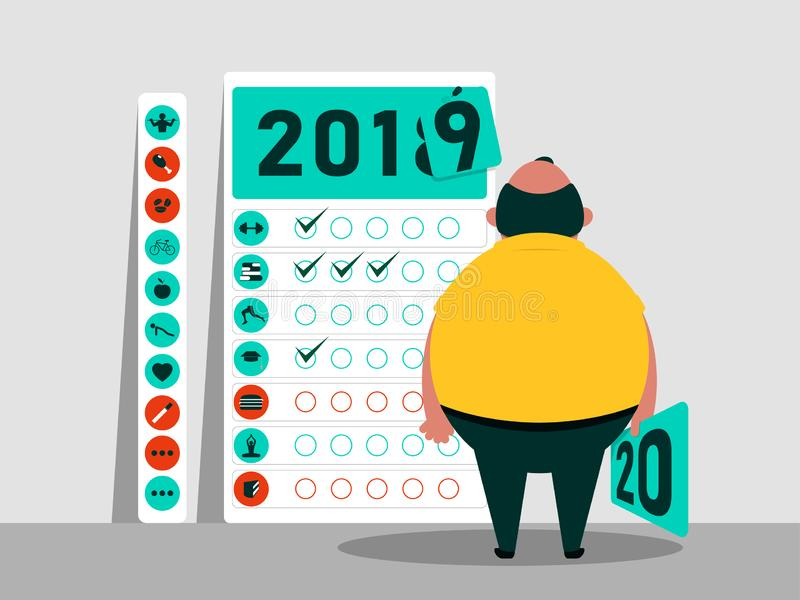 Tasks and plan for 2019 - 2020. Calendar of habits. Funny fat character. Happy New Year. Vector illustration. The goals that I would like to achieve in the new stock illustration