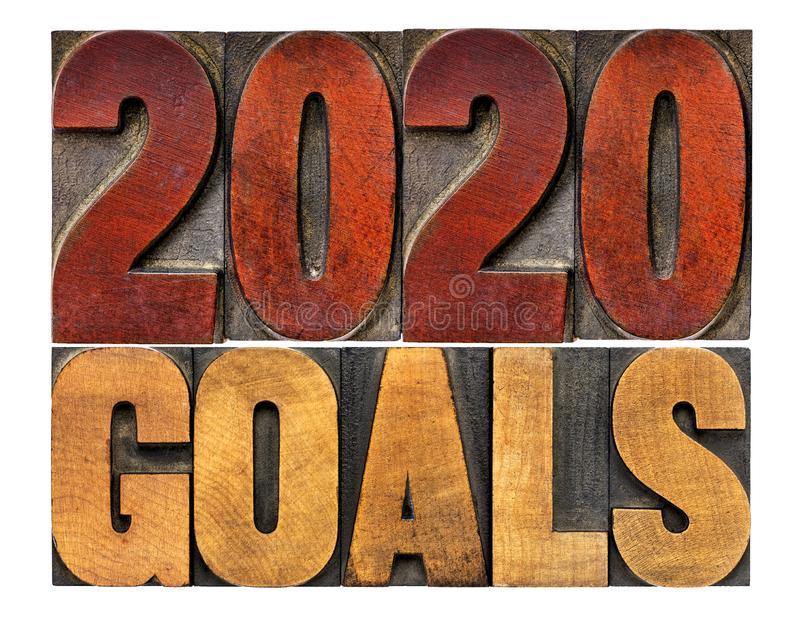 2020 goals in letterpress wood type. 2020 goals banner - New Year resolution concept - isolated text in vintage letterpress wood type printing blocks royalty free stock photography