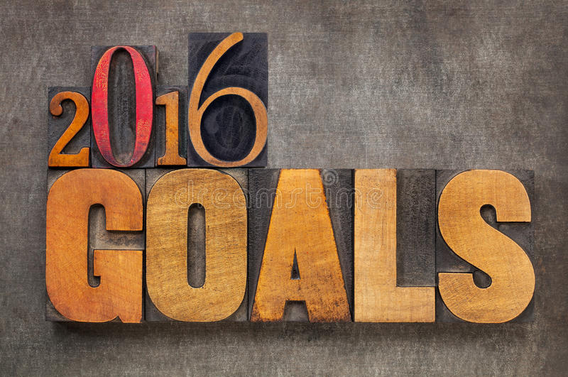 2016 goals in letterpress wood type. 2016 goals - New Year resolution concept - text in vintage letterpress wood type blocks against grunge metal background royalty free stock photos