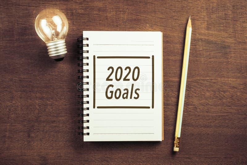 2020 Goals on Notepad stock photo