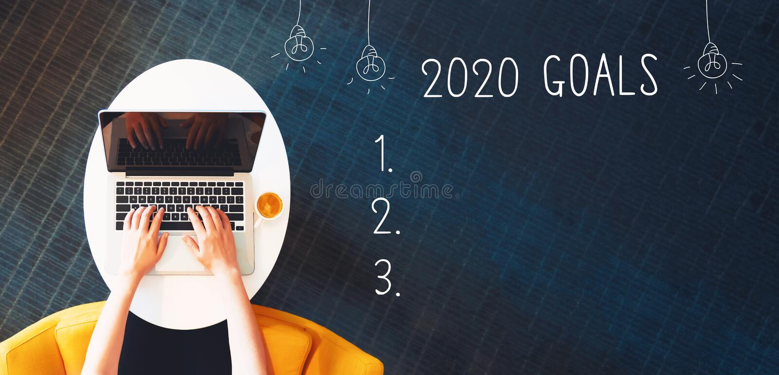 2020 goals with person using a laptop stock photos
