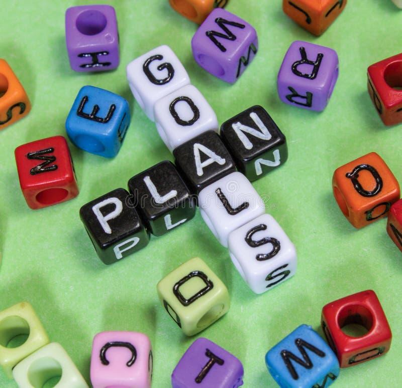 Goals Plan. Puzzle words concept stock images