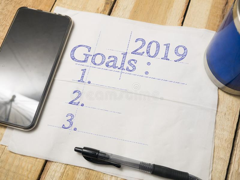 2019 Goals Resolutions, Motivational Inspirational Quotes royalty free stock photo