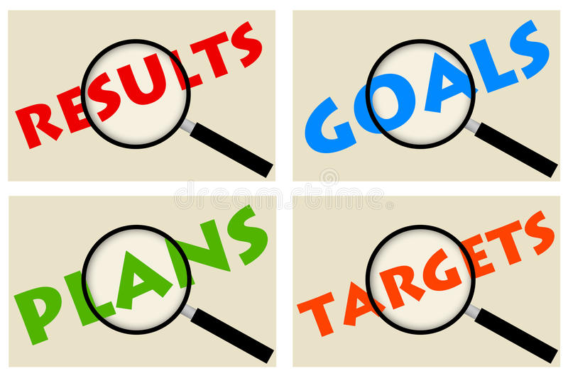 Goals and targets. Planning, goals, targets and results in life and career stock illustration