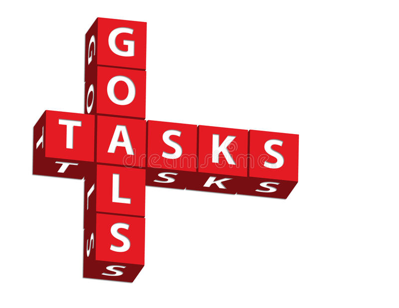Goals and Tasks. Red blocks spelling goals and tasks on a white background, goals and tasks stock images