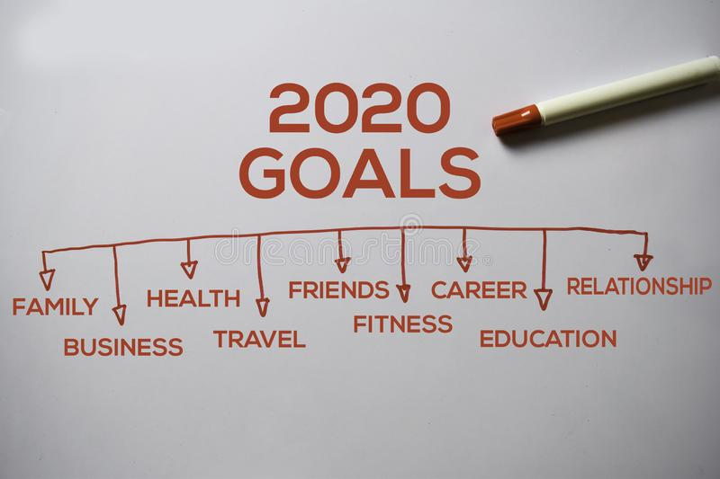 2020 Goals text with keywords isolated on white board background. Chart or mechanism concept stock photos