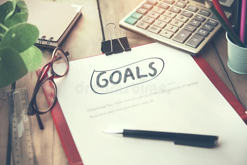 Goals text on notebook royalty free stock images