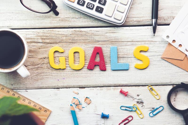 Goals text stock photo