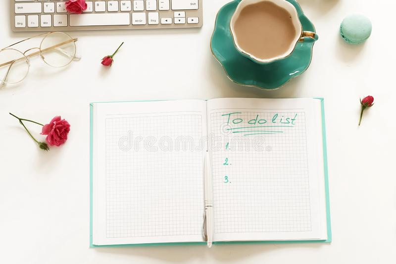 Goals 2019, To do list concept .top view, flat lay women`s office desk royalty free stock photo