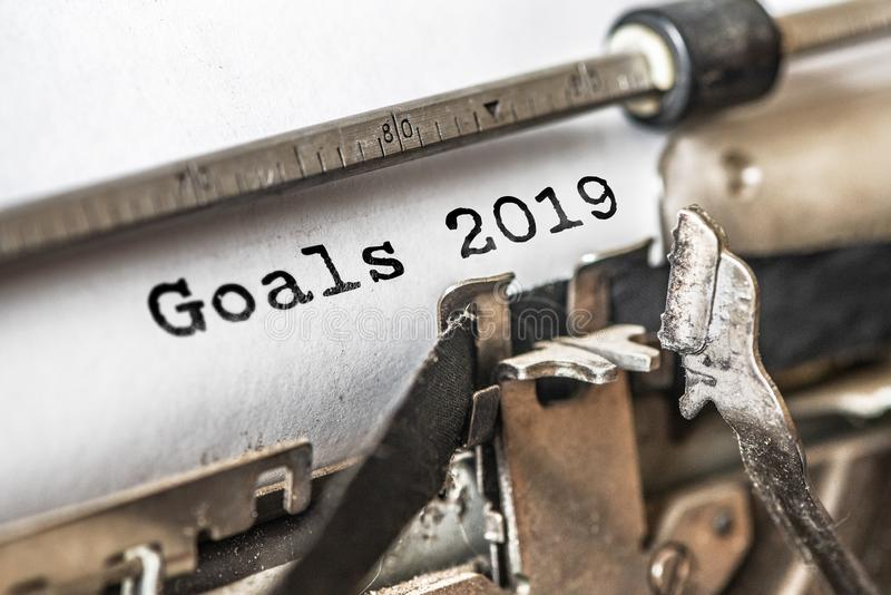 Goals 2019 typed words on a vintage typewriter. Close up royalty free stock photos