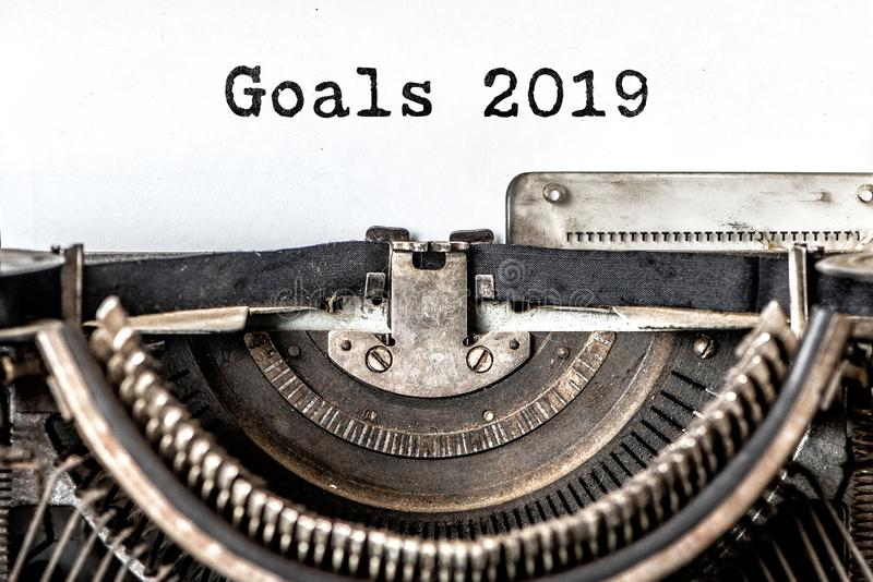 Goals 2019 typed words on a vintage typewriter. Close up royalty free stock image