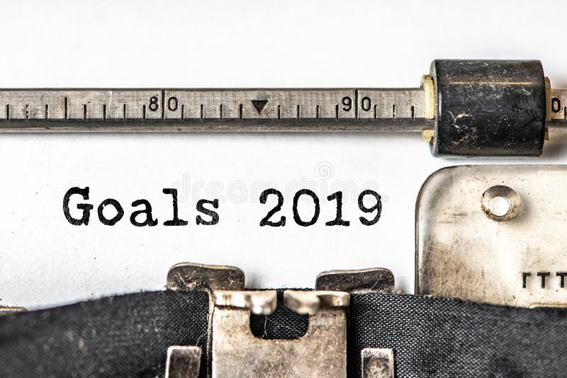 Goals 2019 typed words on a vintage typewriter. Close up royalty free stock photography