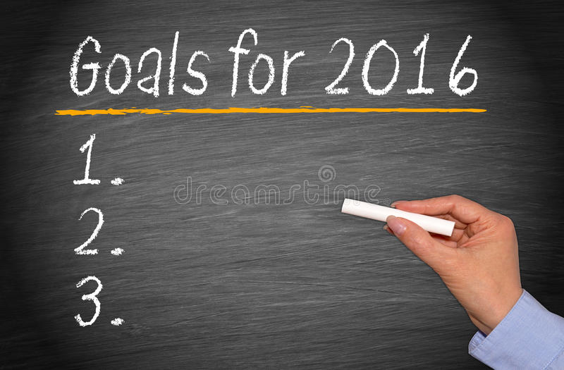 Goals for 2016. White chalk text graphic listing goals for 2016 enumerated on blackboard with woman's hand holding a piece of chalk royalty free stock image