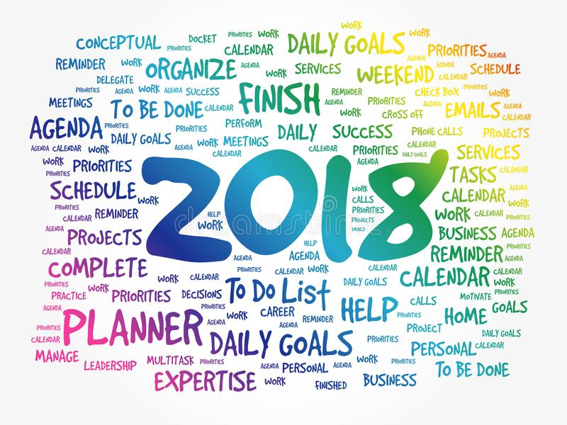 2018 Goals word cloud business concept royalty free illustration