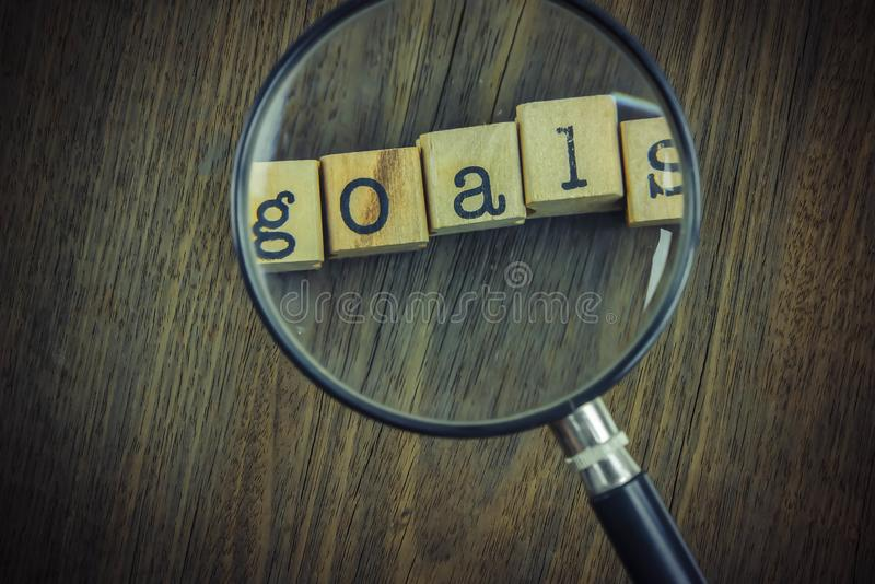 Goals word concept, work improvement and key for success royalty free stock photo