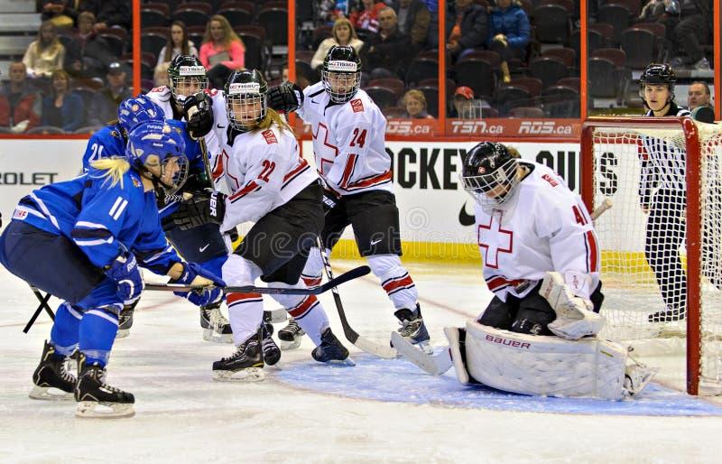 IIHF-kvinna mästerskap för värld för ishockey arkivbilder