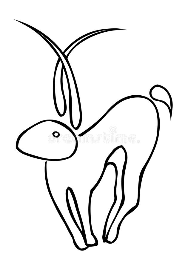 Goat. Monochrom abstract goat on the white background vector illustration