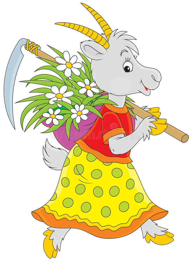 Goat. Going with a scythe and wisp of straw with flowers stock illustration