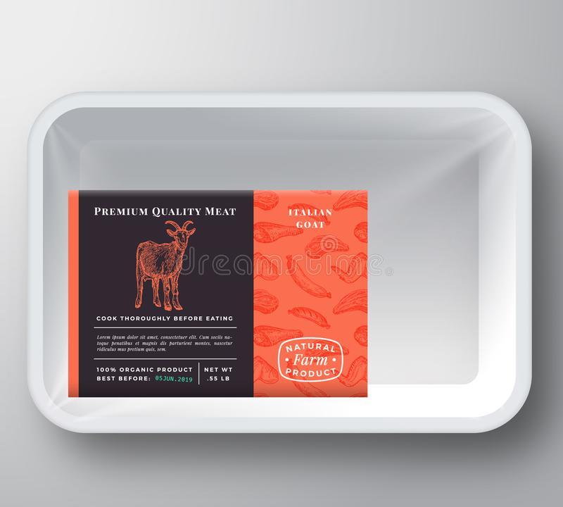 Goat Abstract Vector Plastic Tray Container Cover. Premium Quality Meat Packaging Design Label Layout. Hand Drawn Goat vector illustration